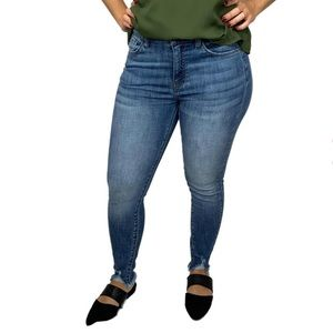 Kan Can skinny distressed ankle medium wash jeans
